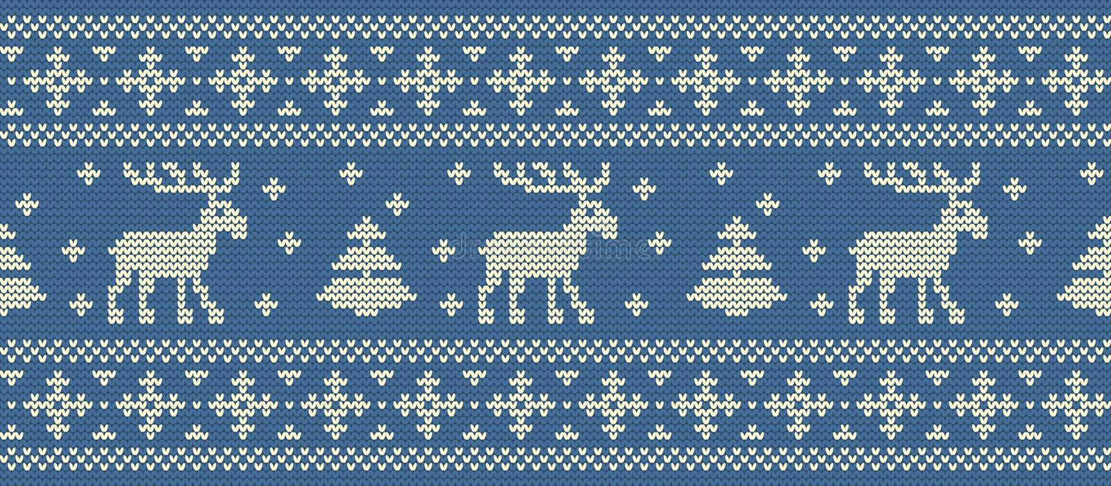 Christmas background. Knitted pattern with deers and fir trees. Seamless border royalty free illustration