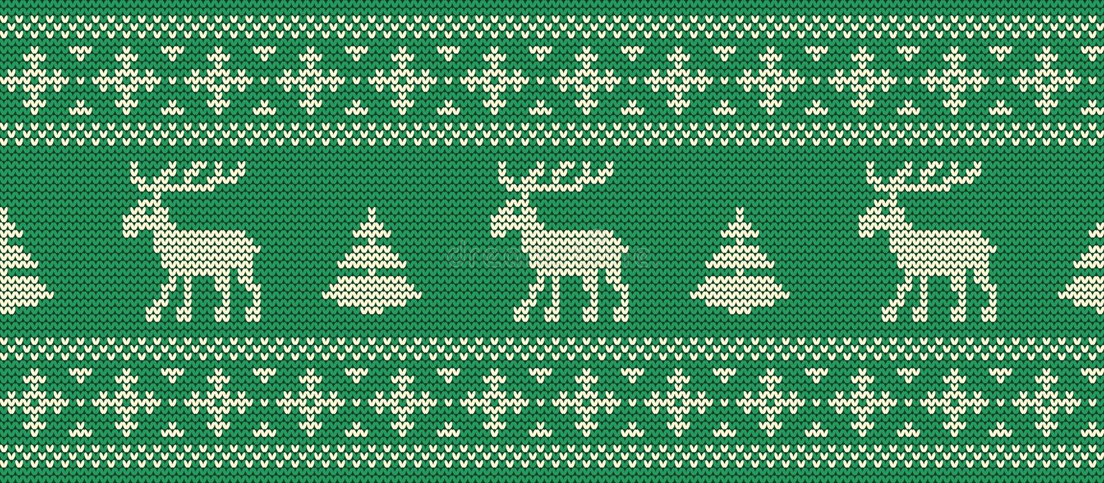 Christmas background. Knitted pattern with deers on a green background. Christmas background. Knitted pattern with deers and fir trees on a green background stock illustration