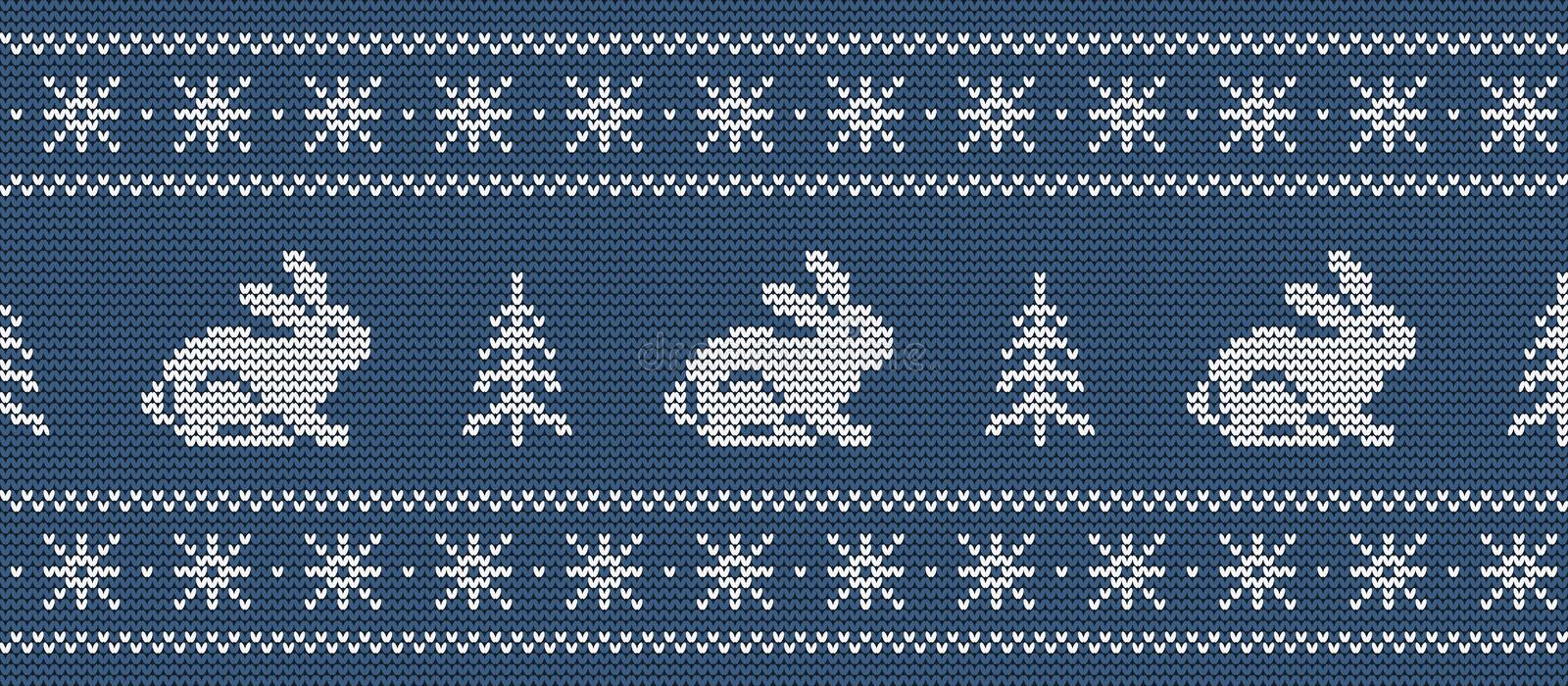 Christmas background. Knitted pattern with hares and christmas trees on a blue background vector illustration