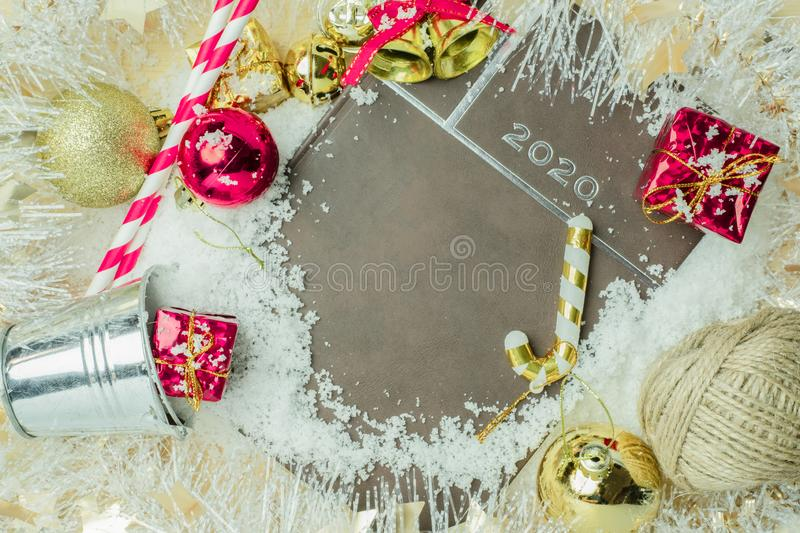 Christmas background, Merry Christmas greeting card idea with decoration of colorful gifts royalty free stock photography