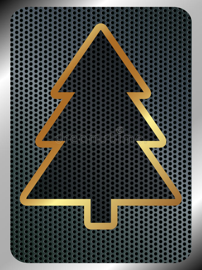 Christmas background with a metallic Christmas tre vector illustration