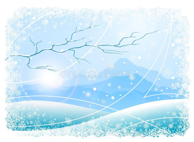 Christmas background with mountains and tree vector illustration