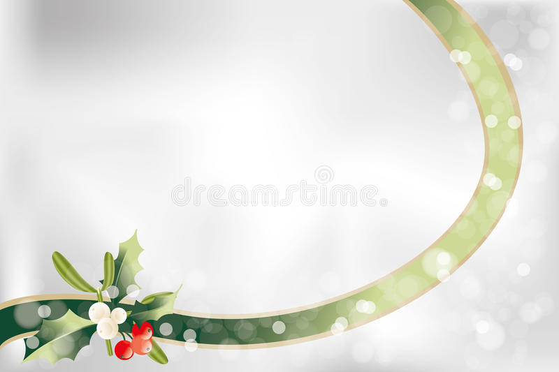 Christmas background. Neutral Christmas background with ribbon, holly, mistletoe and place for text royalty free illustration