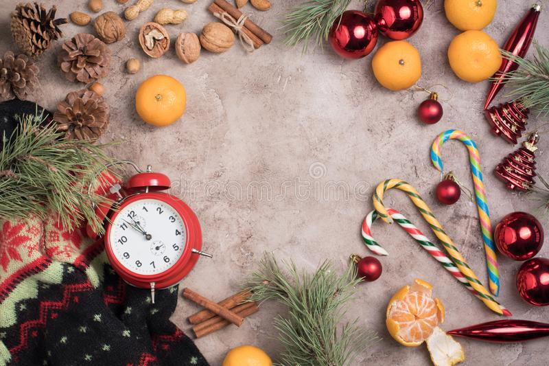 Christmas background. New Year`s holiday. Christmas motive Top view. Free space for your text. Flat lay stock images