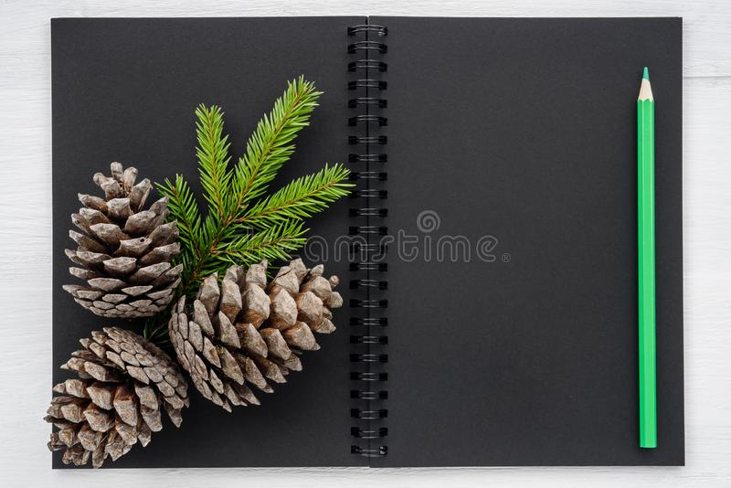 Christmas background - notebook and Christmas decorations stock photos