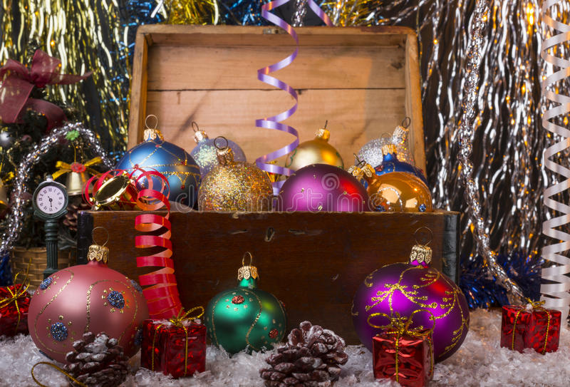 Christmas background with old wooden box and the stock photography