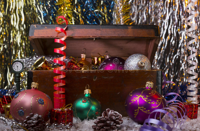 Christmas background with old wooden box stock images