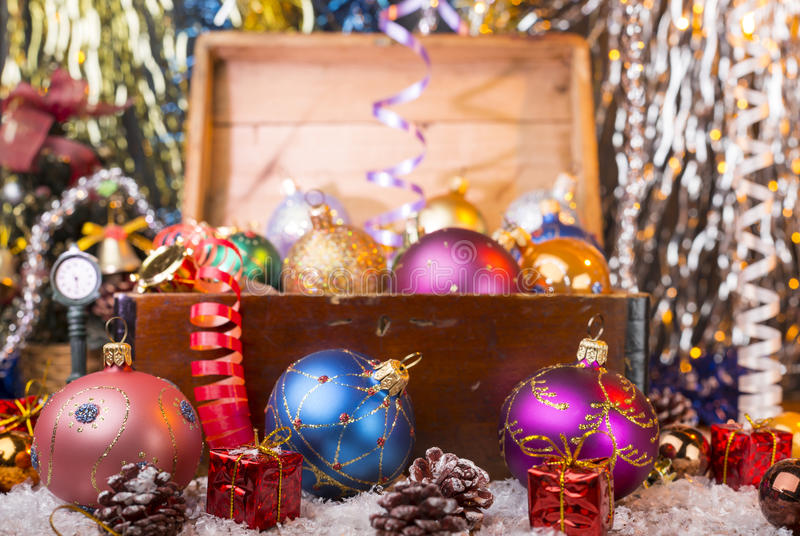 Christmas background with old wooden box royalty free stock photography