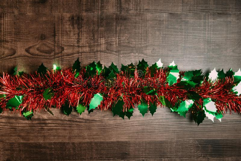 Christmas background with ornament over wooden table. Flat lay for Christmas and happy new year banner royalty free stock images