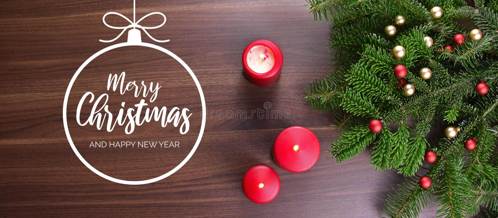 Merry Christmas and Happy New Year greeting card with red candle royalty free illustration