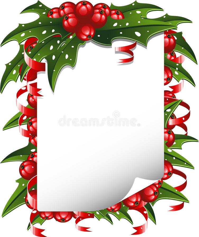 Download Christmas Background: Paper Decorated With Holly Stock Photo - Image: 16497640