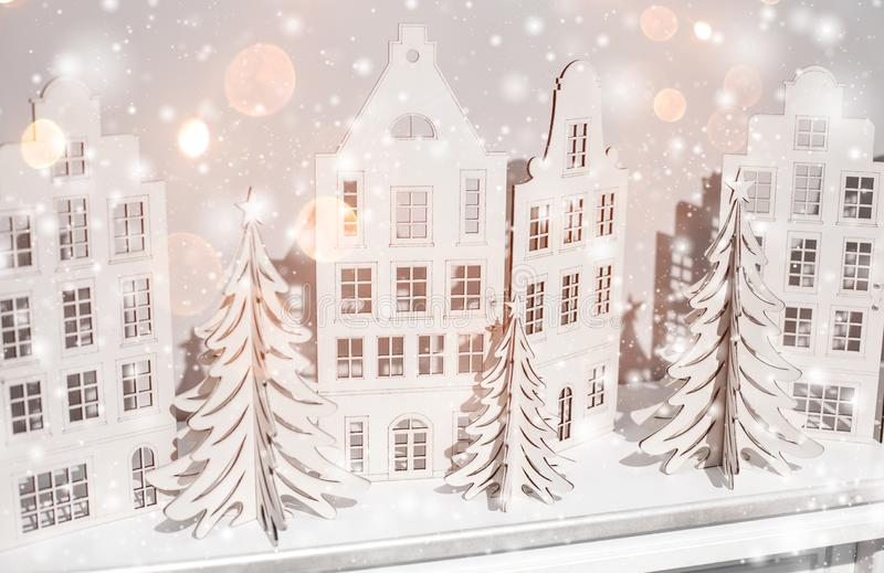Christmas background of paper decorations. Xmas and Happy New Year composition.  royalty free stock photography