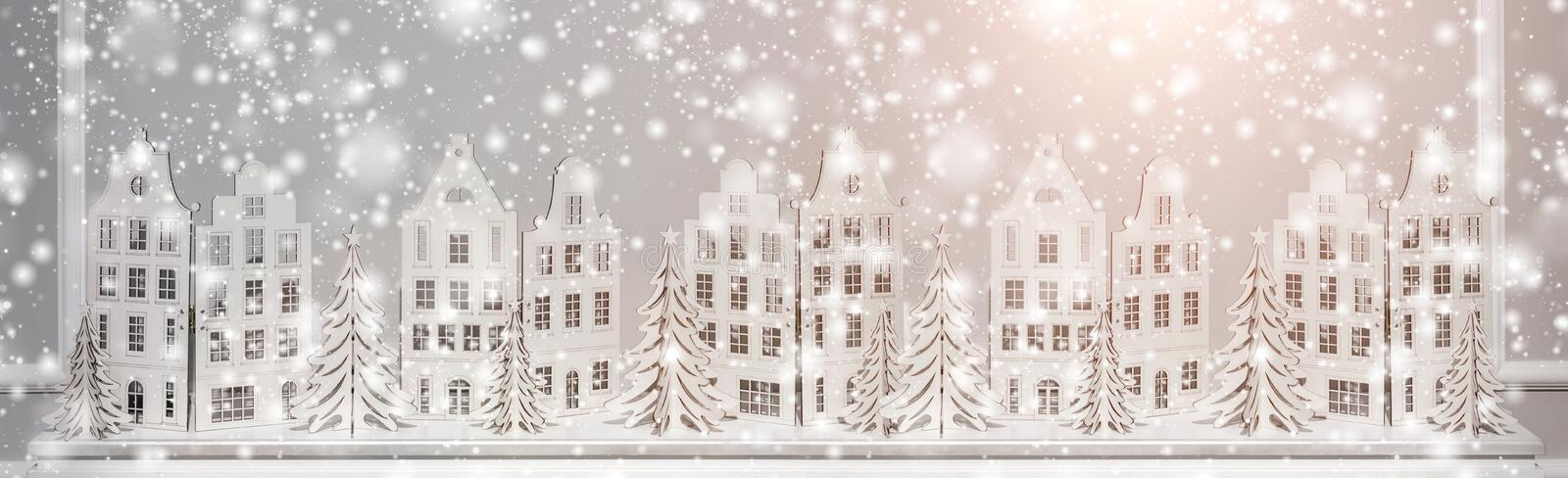 Christmas background of paper decorations. Xmas and Happy New Year composition. stock photo