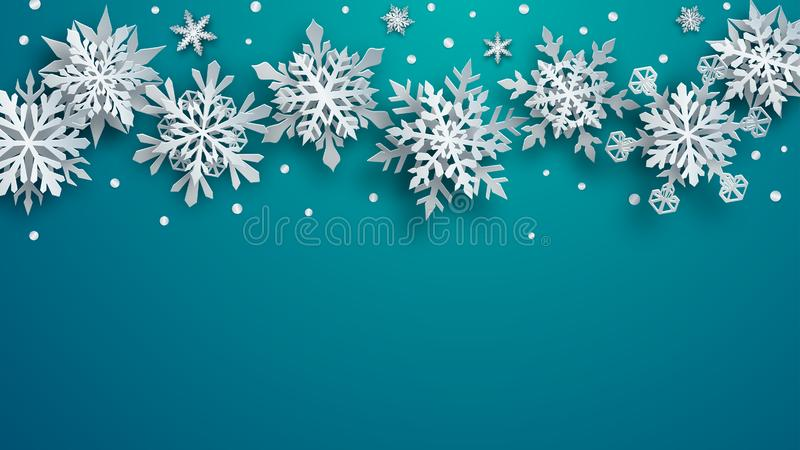 Christmas background of paper snowflakes stock illustration