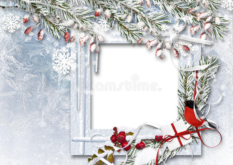 Christmas background with photo frame, bullfinch, snow branches and red berries. Greeting card stock illustration