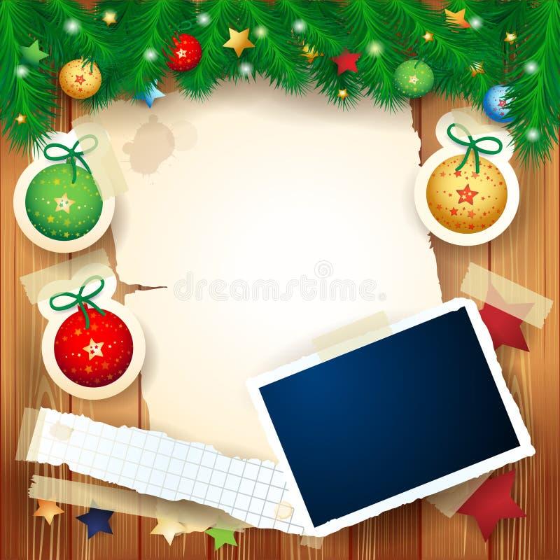Christmas background with photo frame stock illustration