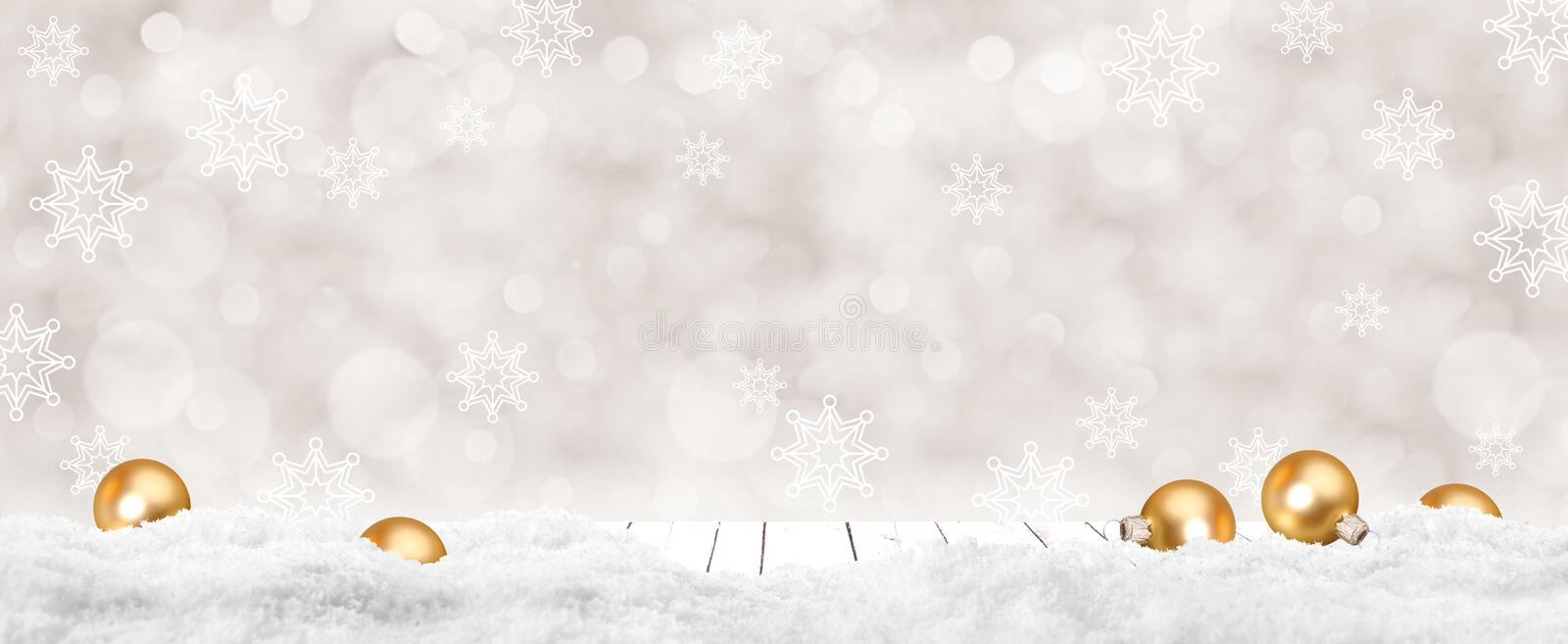 Christmas background for photo studio with wooden table and backdrop. Balls, snowflakes royalty free stock photography