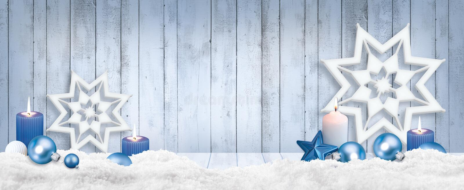 Christmas background for photo studio with wooden table and backdrop. Balls, snowflakes stock images