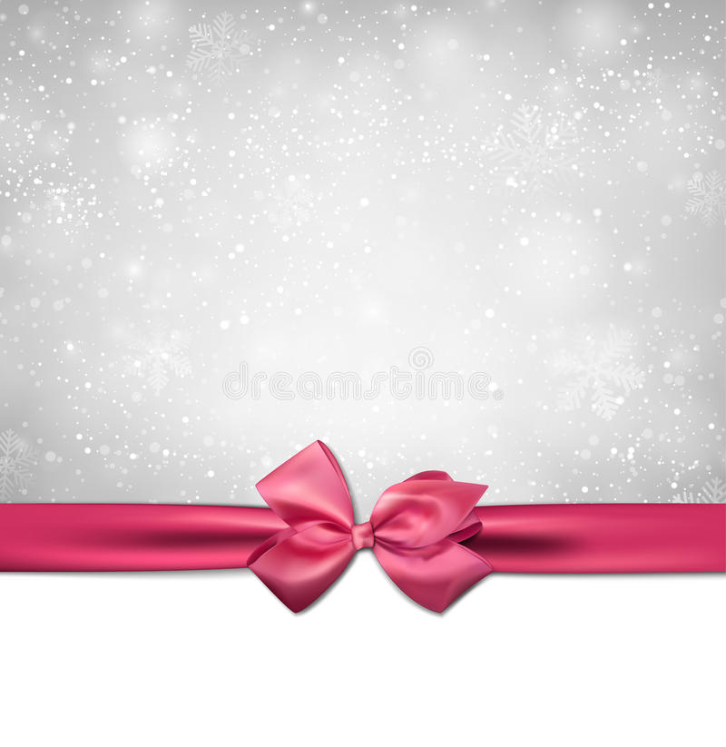 Christmas background with pink bow. royalty free illustration