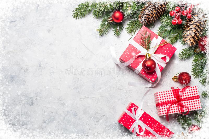 Christmas background with present box. stock photos
