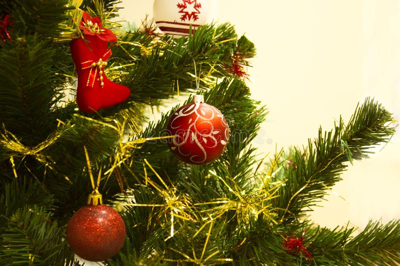 Christmas background with red balls royalty free stock image