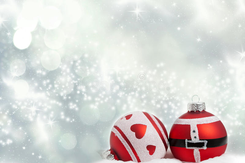 Christmas background with red decorations. Sparkling Christmas background with red baubles stock illustration