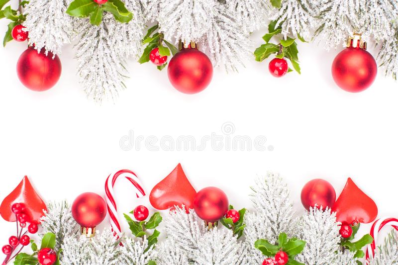 Christmas background. Red and green Christmas decorations border.  stock photo