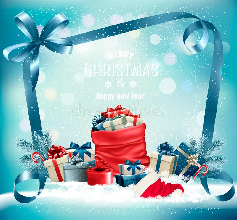Christmas background with a red sack full presents and santa hat. Vector royalty free illustration