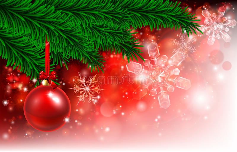 Christmas Background Red Tree Bauble stock illustration