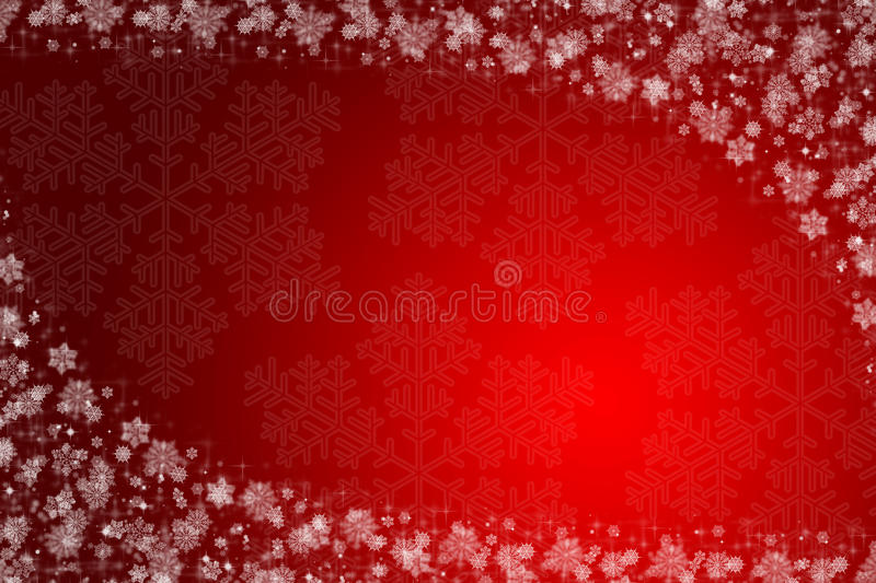 Christmas background. Red and white with snow stock illustration