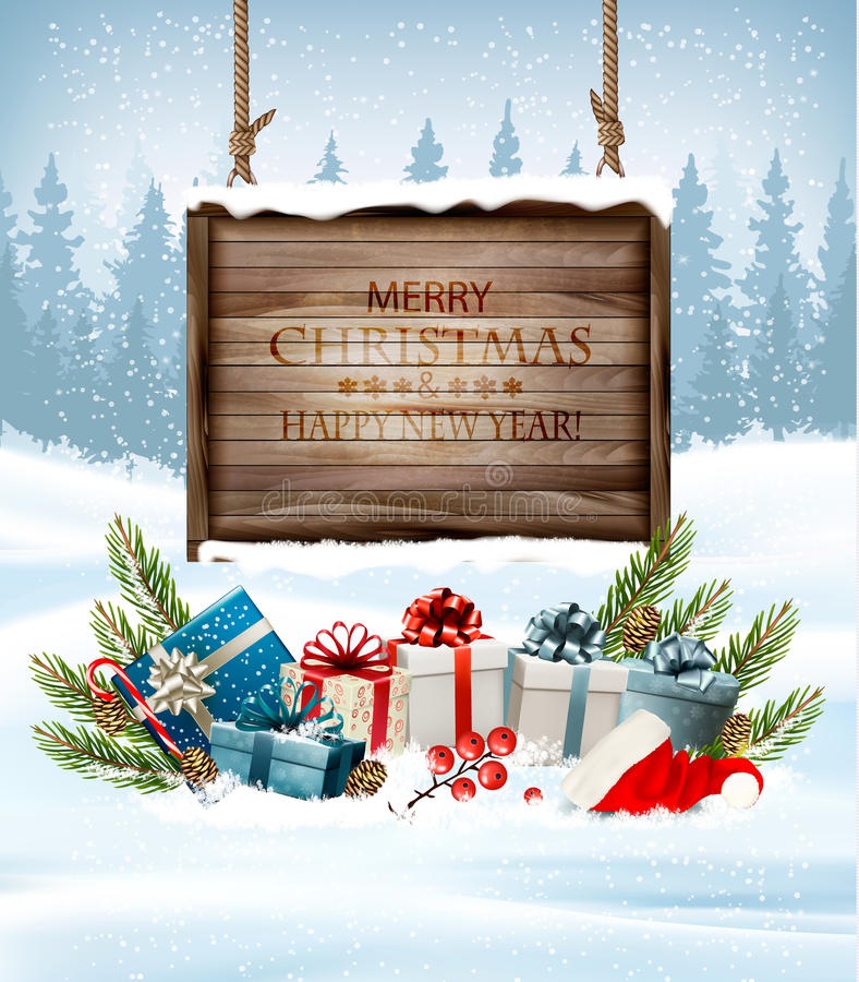 Christmas background with a retro wooden sign and gift boxes. Vector vector illustration