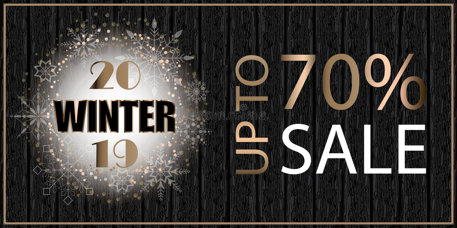 Christmas background, sale poster on wooden board. 2019 big win. Ter sale. Place for text. Vector illustration royalty free illustration