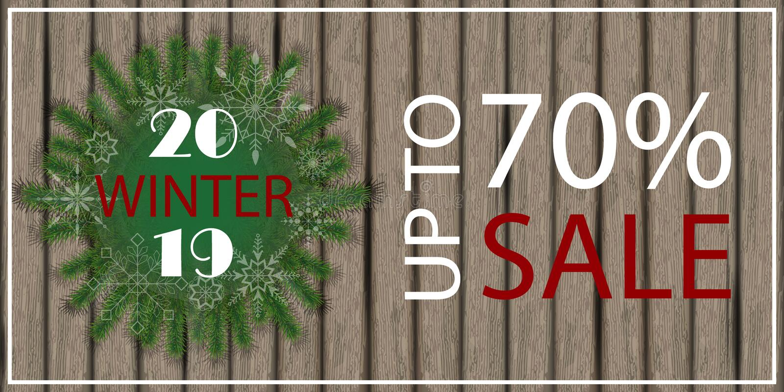 Christmas background, sale poster on wooden board. 2019 big win. Ter sale. Place for text. Vector illustration vector illustration