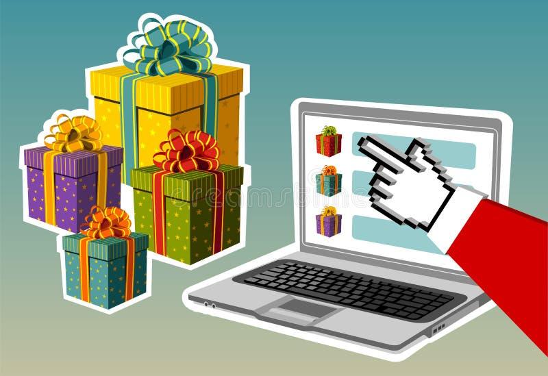 Download Christmas Background. Santa Buying Online Stock Vector - Illustration: 11655247