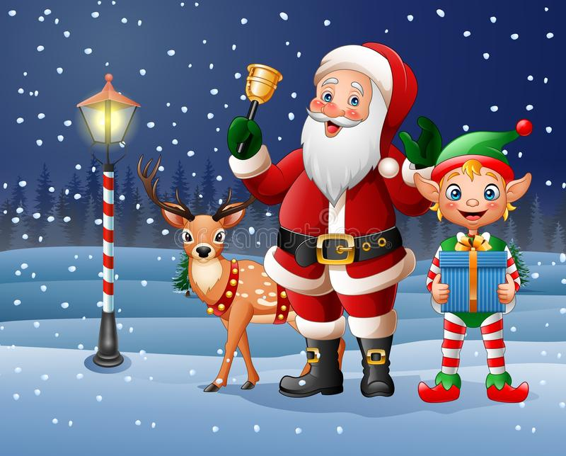 Christmas background with Santa Claus, deer and elf. Illustration of Christmas background with Santa Claus, deer and elf vector illustration
