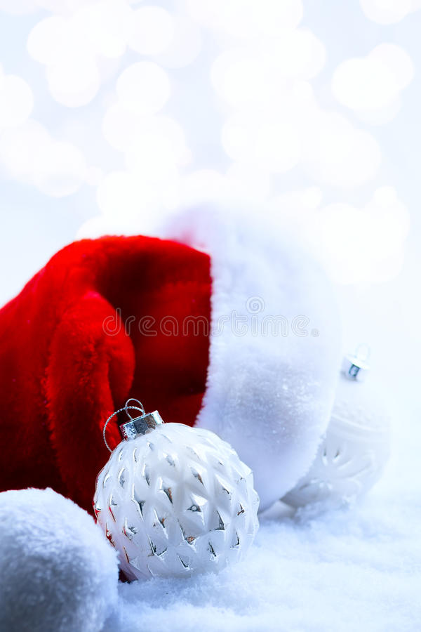 Christmas background with Santa Claus hats. And Christmas decoration royalty free stock photography