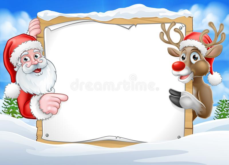 Christmas Sign Reindeer and Santa Background stock illustration