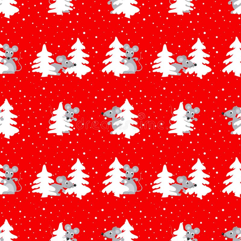 Christmas background. Seamless pattern with fir trees and rats - a symbol of 2020 vector illustration