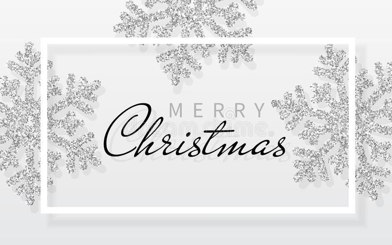 Christmas background with shining silver snowflakes and white frame. Merry Christmas and Happy New Year card. Vector Illustration vector illustration