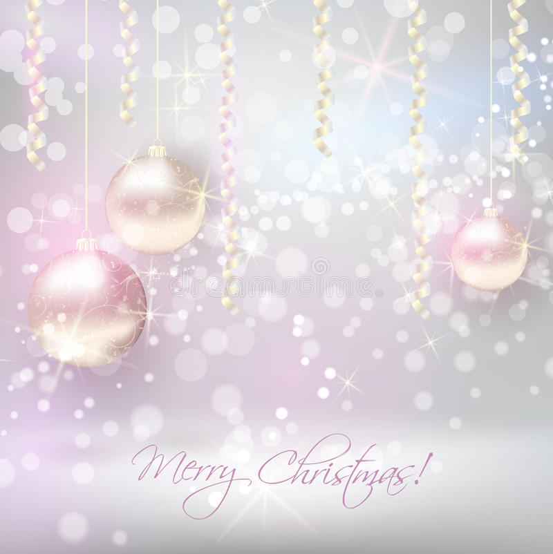 Christmas background with shiny christmas baubles vector illustration