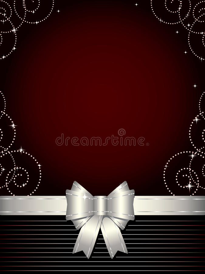 Christmas background with silver bow. Elegant design background with shiny decoration and silver bow royalty free illustration