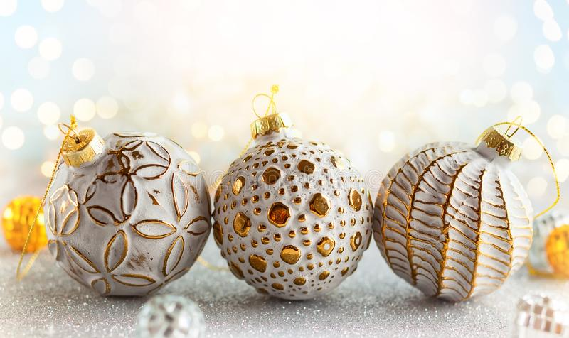 Christmas Decoration. Christmas background with silver and gold vintage baubles royalty free stock photos