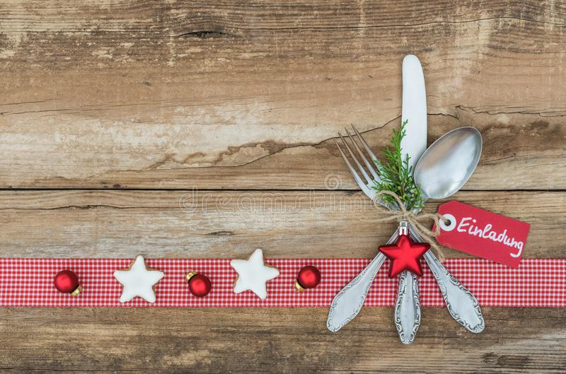 Christmas Background With Silverware Place Setting For