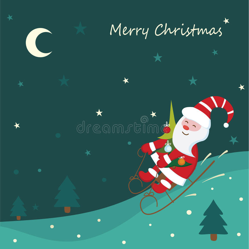 Christmas background with sledding Santa stock illustration