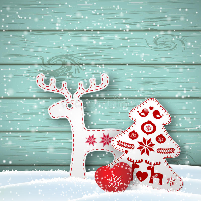 Christmas background, small scandinavian styled decorations in front od blue wooden wall, illustration. Christmas background, small scandinavian styled red and vector illustration