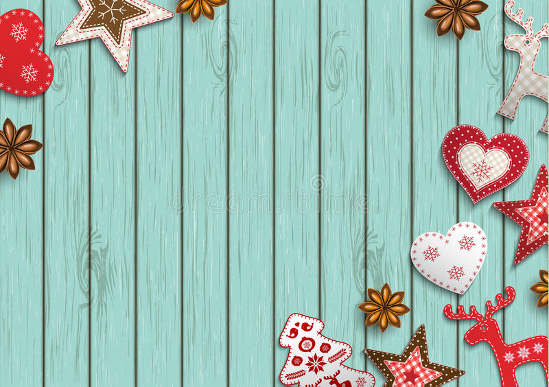 Christmas background, small scandinavian styled decorations lying on blue wooden backdrop, illustration stock illustration