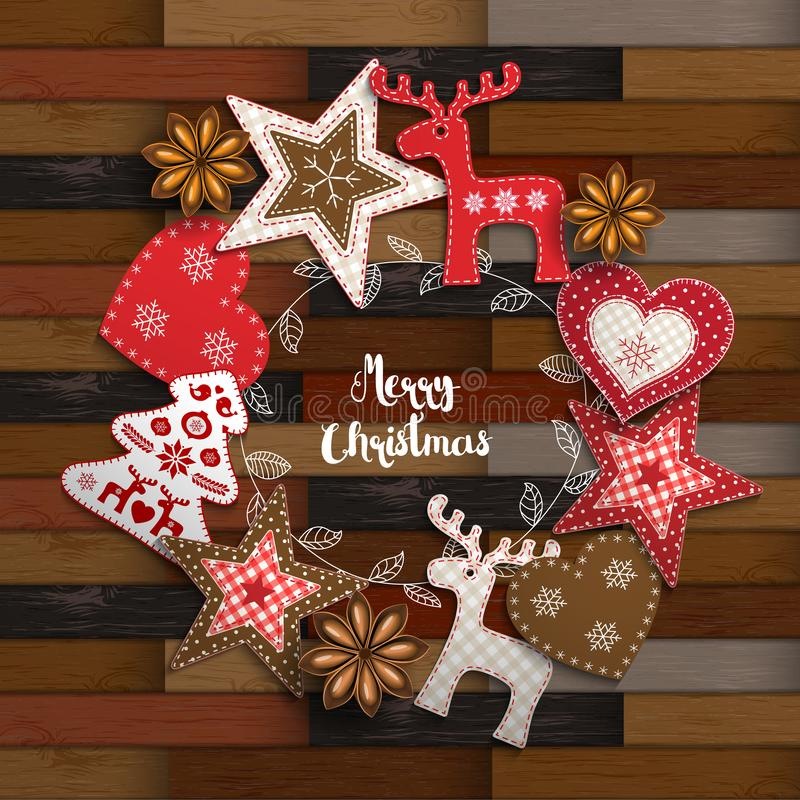 Christmas traditional ornaments on wooden parquet background. Christmas background, small Scandinavian styled red decorations lying on wooden parquet background vector illustration
