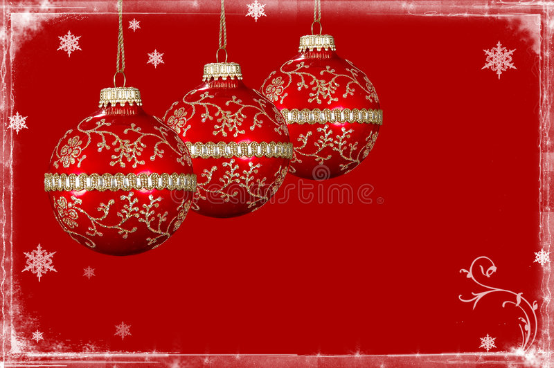 Christmas Background With Snow Border Stock Photo