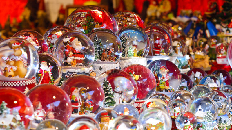 Christmas background - Snow domes stock photography
