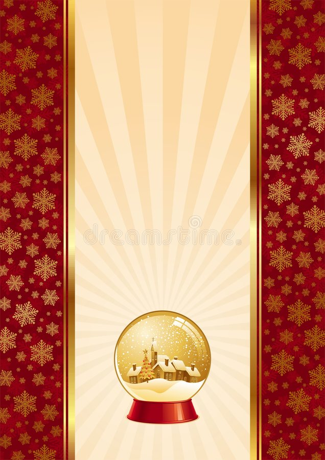 Christmas background with snow globe royalty free illustration
